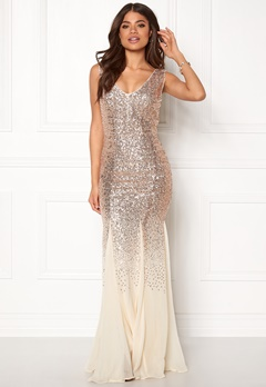 Goddiva V Neck Sequin And Chiffon Champagne Bubbleroom.no