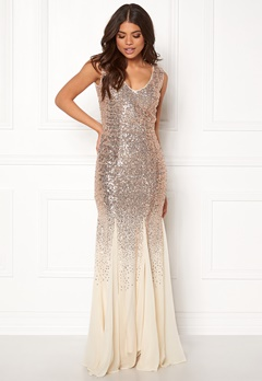 Goddiva V Neck Sequin And Chiffon Champagne Bubbleroom.fi
