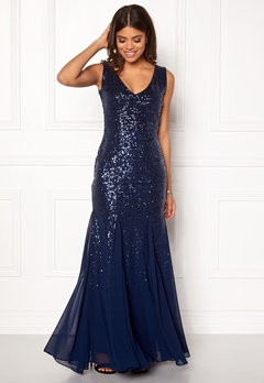 Goddiva V Neck Sequin And Chiffon Navy Bubbleroom.se