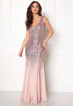 Goddiva V Neck Sequin And Chiffon Rose Bubbleroom.fi