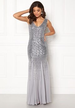 Goddiva V Neck Sequin And Chiffon Silver Grey Bubbleroom.no