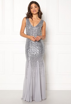 Goddiva V Neck Sequin And Chiffon Silver Grey Bubbleroom.fi
