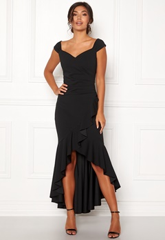 Goddiva Wrap Front Frill Dress Black Bubbleroom.se