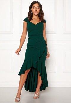 Goddiva Wrap Front Frill Dress Emerald Bubbleroom.se