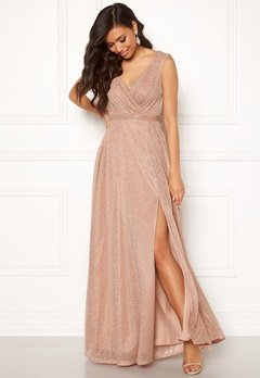 Goddiva Glitter Wrap Maxi Dress Nude Bubbleroom.se