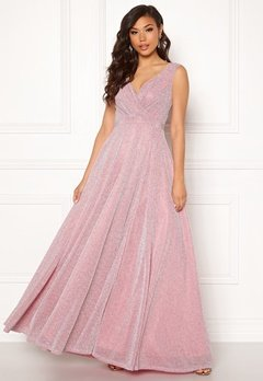 Goddiva Glitter Wrap Maxi Dress Pink Bubbleroom.se
