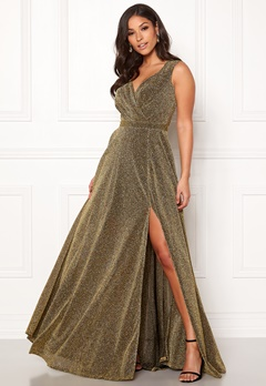 Goddiva Wrap Front Maxi Dress Gold Bubbleroom.se