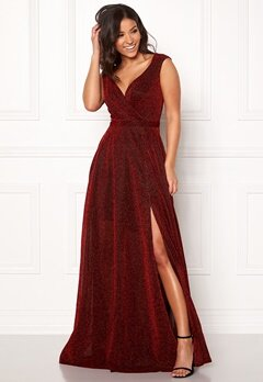 Goddiva Wrap Front Maxi Dress Red Bubbleroom.se
