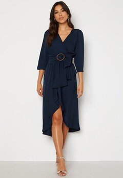 Goddiva Wrap High Low Belted Dress Navy Bubbleroom.se