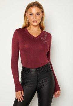Guess Edith VN LS Sweater G5Q7 Ruby Merlot bubbleroom.se