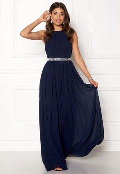 Goddiva Halterneck Chiffon Maxi Dress Navy Bubbleroom.se