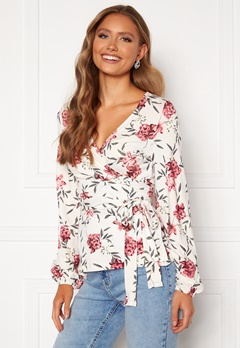 Happy Holly Amanda puff sleeve wrap top White / Floral Bubbleroom.se