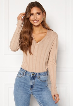 Happy Holly Anabelle Knitted collar Top Beige Bubbleroom.se