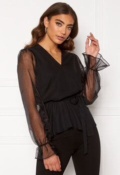 Happy Holly Athena bow sleeve blouse  Black Bubbleroom.se