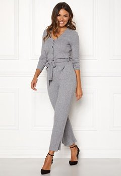 Happy Holly Ava rib jumpsuit Grey melange Bubbleroom.se