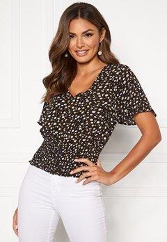 Happy Holly Bianka smock blouse Black / Patterned Bubbleroom.se