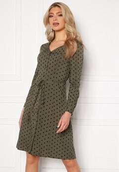 Happy Holly Blake ls dress Khaki green / Black Bubbleroom.se