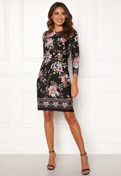 Happy Holly Blenda tieband dress Black / Patterned Bubbleroom.se