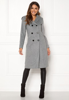 Happy Holly Brielle Hoody coat Grey melange Bubbleroom.se
