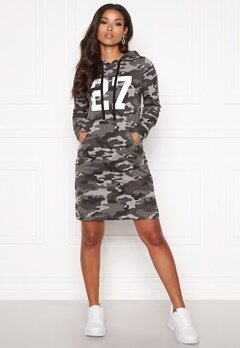 Happy Holly Camila tricot hood Grey melange / Camouflage Bubbleroom.se