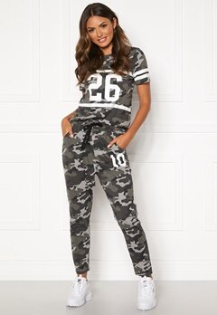Happy Holly Carolyn tricot pants Grey melange / Camouflage Bubbleroom.se