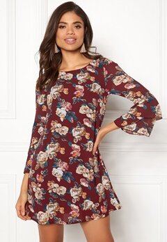 Happy Holly Charlene dress Wine-red / Patterned Bubbleroom.se