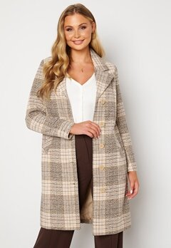 Happy Holly Corinne checked coat Beige / Checked Bubbleroom.se