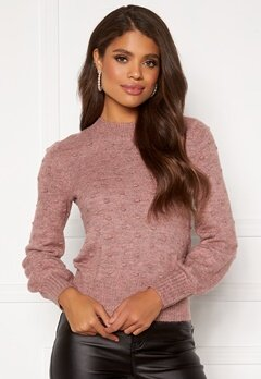 Happy Holly Edith knitted sweater Dusty pink / Melange bubbleroom.se