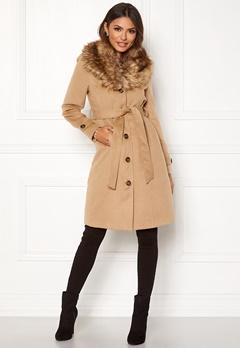 Happy Holly Elisa coat with belt Camel Bubbleroom.se