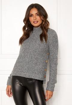 Happy Holly Eliza button sweater Grey melange Bubbleroom.se