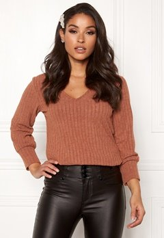 Happy Holly Elly puff sleeve top Cinnamon Bubbleroom.se