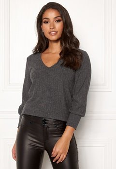 Happy Holly Elly puff sleeve top Dark grey melange Bubbleroom.se