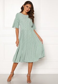 Happy Holly Eloise pleated dress Light mint / Dotted Bubbleroom.se