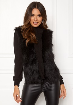 Happy Holly Emilia fur sweater  Black Bubbleroom.se