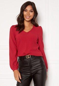 Happy Holly Emilia ls sleeve puff top  Dark red Bubbleroom.se