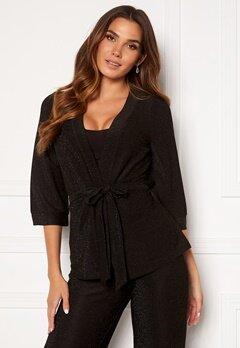 Happy Holly Estelle lurex kimono jacket Black Bubbleroom.se