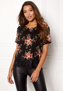 Happy Holly Evelina woven top Black / Patterned Bubbleroom.dk