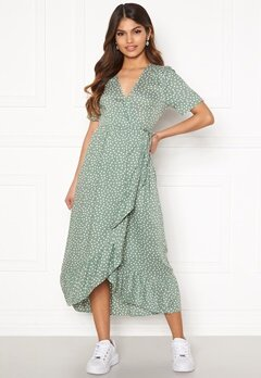 Happy Holly Evie wrap dress Dusty green / Offwhite Bubbleroom.se