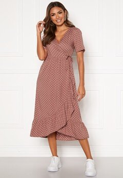 Happy Holly Evie wrap dress Dusty pink / Dotted Bubbleroom.se