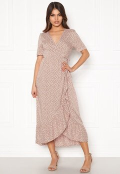 Happy Holly Evie wrap dress Dusty pink / Offwhite Bubbleroom.se