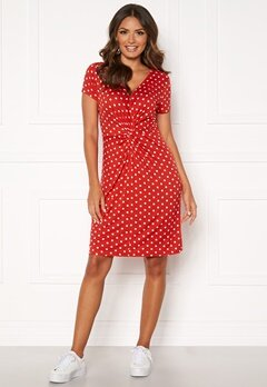 Happy Holly Fiona dress Coral red / Dotted Bubbleroom.se