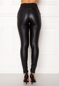 Happy Holly Freja push-up coated treggings Black Bubbleroom.se