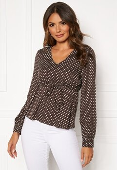 Happy Holly Frida blouse Brown / Dotted Bubbleroom.se
