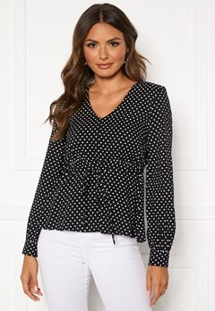 Happy Holly Frida blouse Black / Dotted Bubbleroom.se