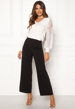 Happy Holly Gabriella wide pants Black Bubbleroom.se