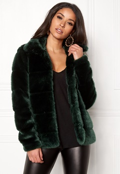 Happy Holly Gia fur jacket Dark green Bubbleroom.se