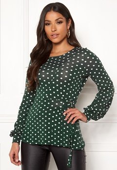 Happy Holly Gianna top Dark green / Dotted Bubbleroom.se