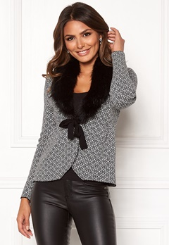 Happy Holly Hannah fur cardigan Black / Offwhite Bubbleroom.se