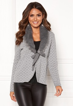 Happy Holly Hannah fur cardigan Grey / Offwhite Bubbleroom.se