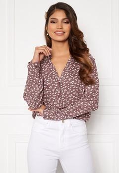 Happy Holly Iris blouse Dusty pink / Beige Bubbleroom.se